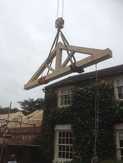 Oak Truss being lifted into position